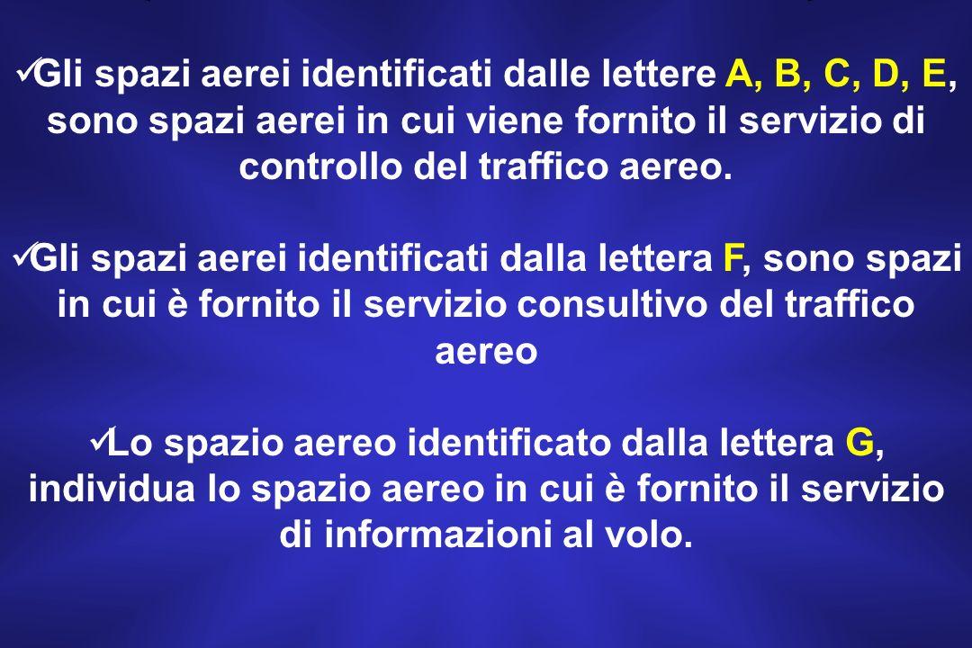 Gli spazi aerei identificati dalle lettere A, B, C, D, E, sono spazi aerei in cui viene fornito il servizio di controllo del traffico aereo.