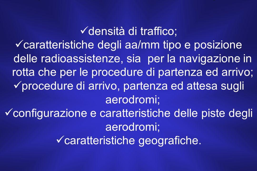 procedure di arrivo, partenza ed attesa sugli aerodromi;