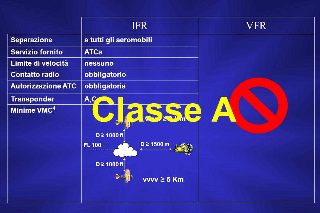 Classe A IFR VFR Separazione a tutti gli aeromobili Servizio fornito