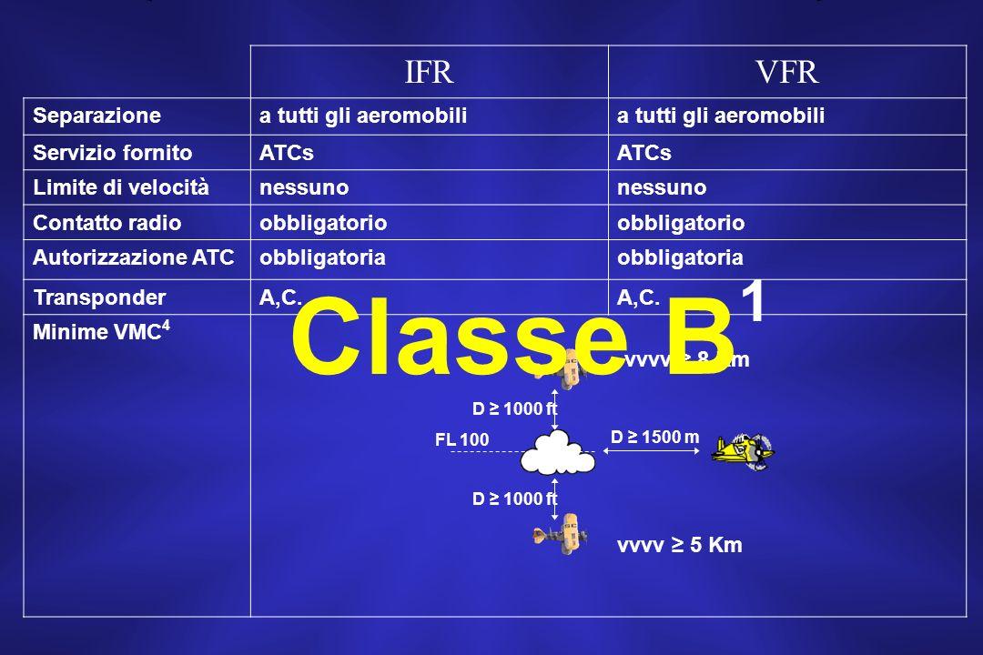 Classe B1 IFR VFR Separazione a tutti gli aeromobili Servizio fornito