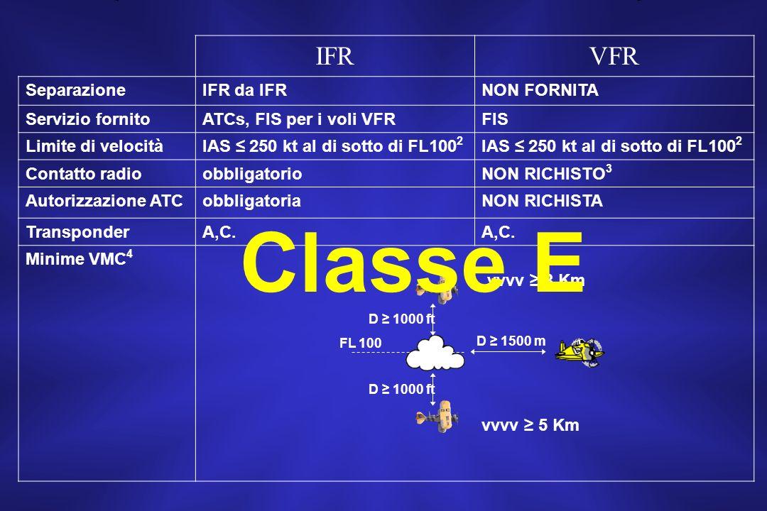 Classe E IFR VFR Separazione IFR da IFR NON FORNITA Servizio fornito