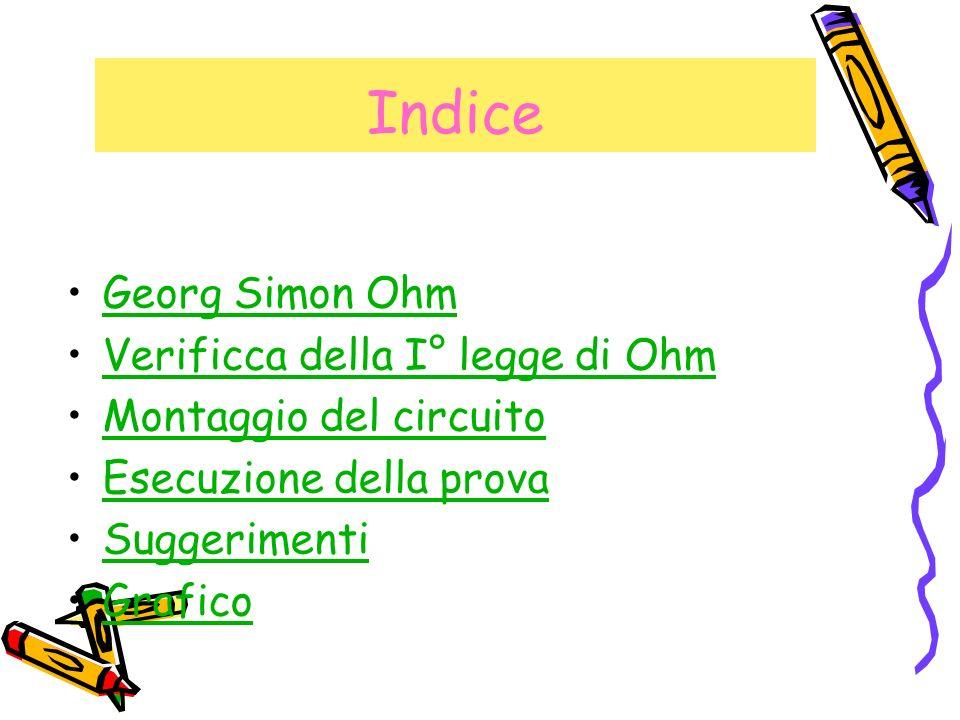 Indice Georg Simon Ohm Verificca della I° legge di Ohm