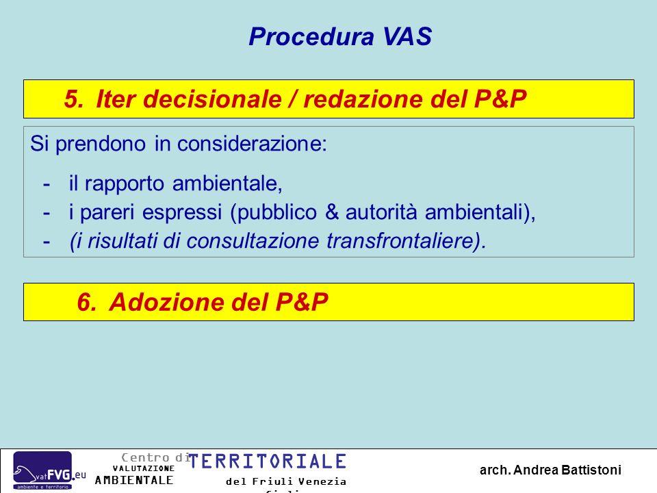 Iter decisionale / redazione del P&P