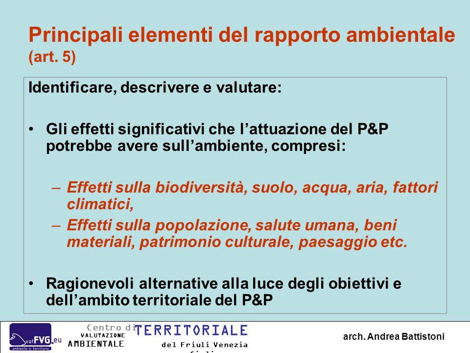 Principali elementi del rapporto ambientale (art. 5)