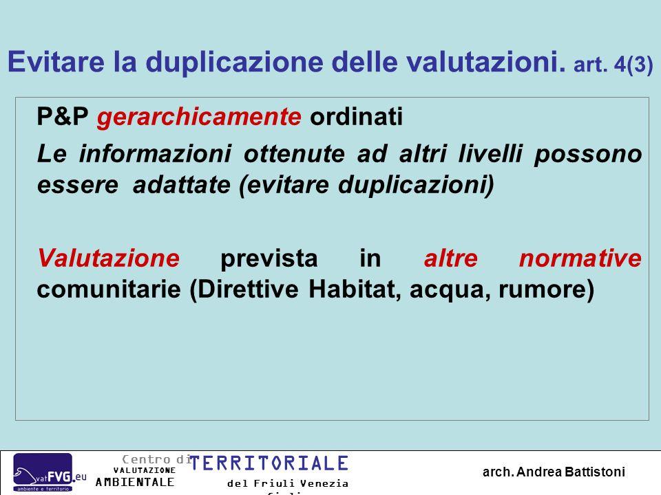 Evitare la duplicazione delle valutazioni. art. 4(3)