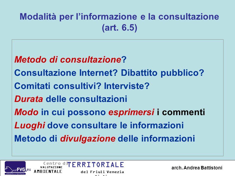Modalità per l'informazione e la consultazione (art. 6.5)