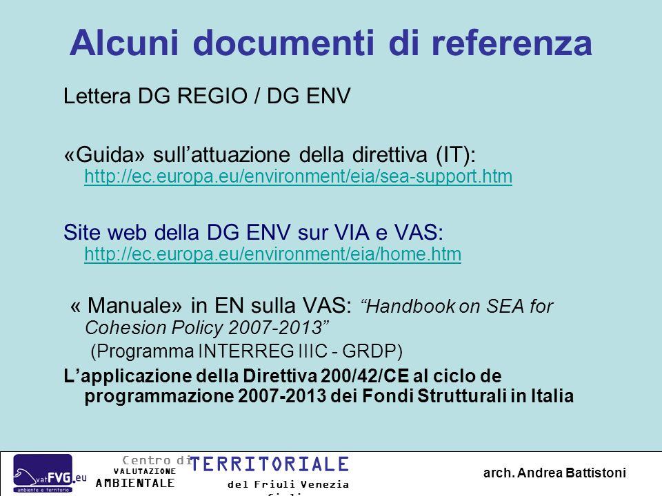 Alcuni documenti di referenza