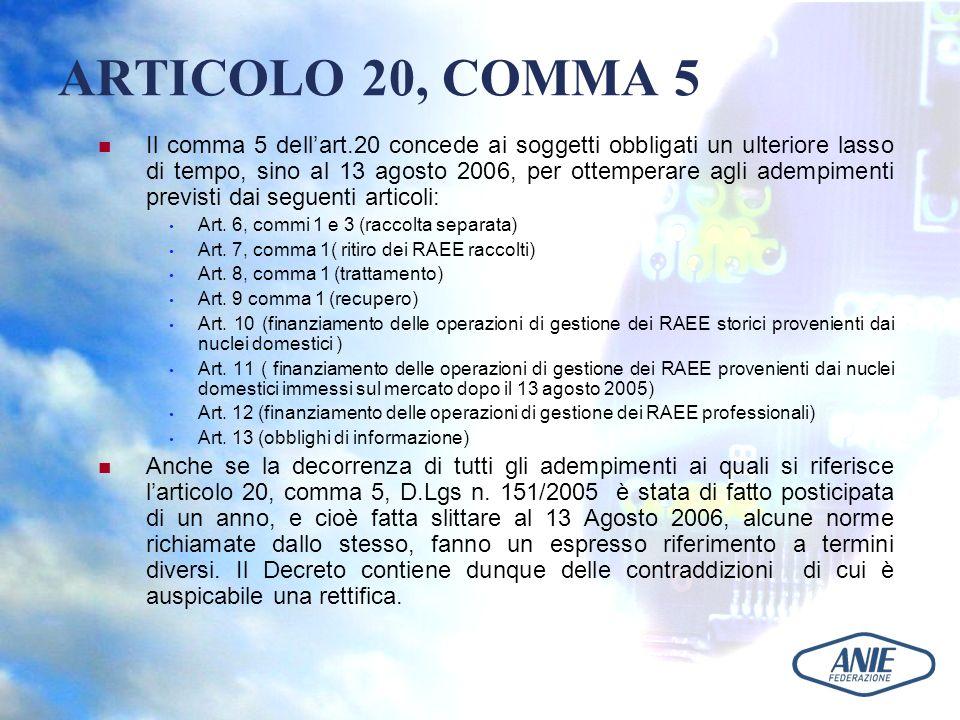 ARTICOLO 20, COMMA 5