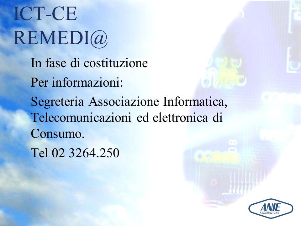 ICT-CE REMEDI@ In fase di costituzione Per informazioni: