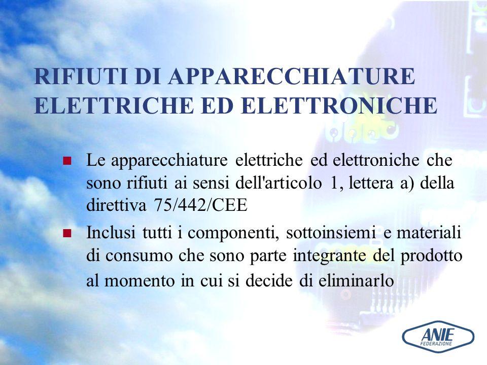 RIFIUTI DI APPARECCHIATURE ELETTRICHE ED ELETTRONICHE