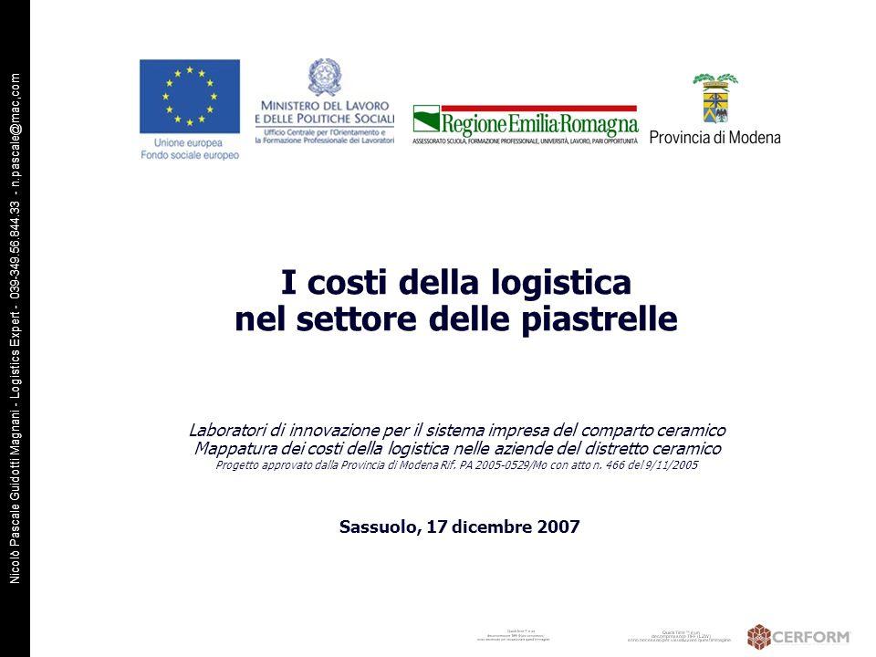 I costi della logistica nel settore delle piastrelle Laboratori di innovazione per il sistema impresa del comparto ceramico Mappatura dei costi della logistica nelle aziende del distretto ceramico Progetto approvato dalla Provincia di Modena Rif. PA 2005-0529/Mo con atto n. 466 del 9/11/2005
