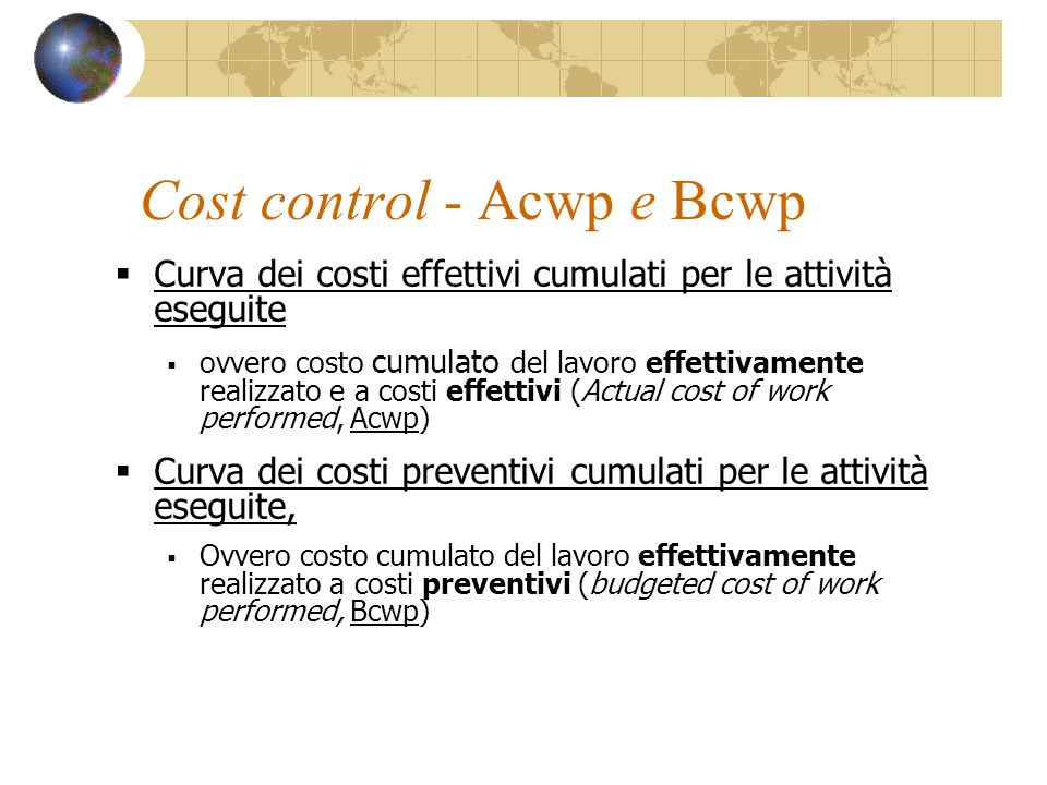 Cost control - Acwp e Bcwp