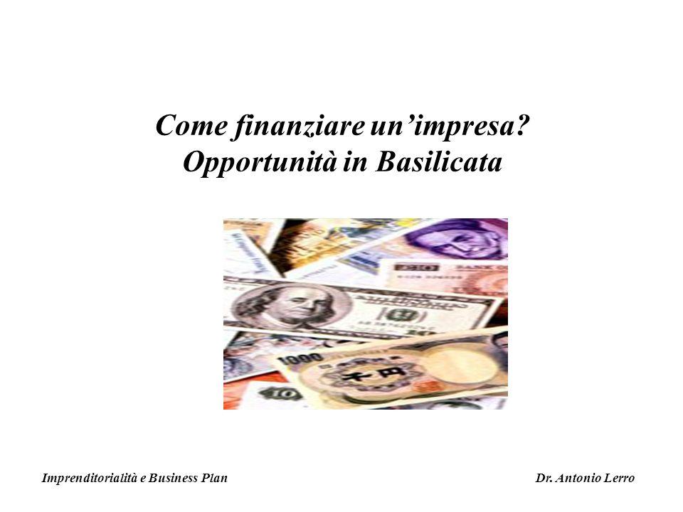 Come finanziare un'impresa Opportunità in Basilicata