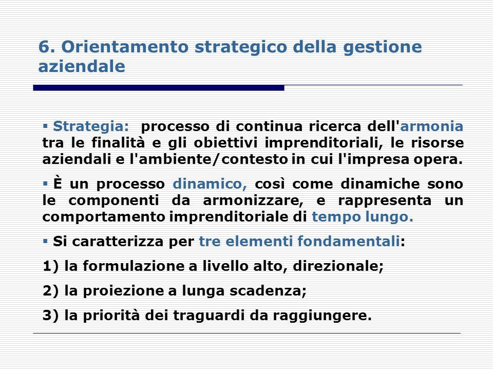 6. Orientamento strategico della gestione aziendale