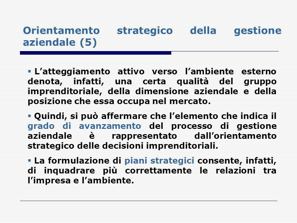 Orientamento strategico della gestione aziendale (5)