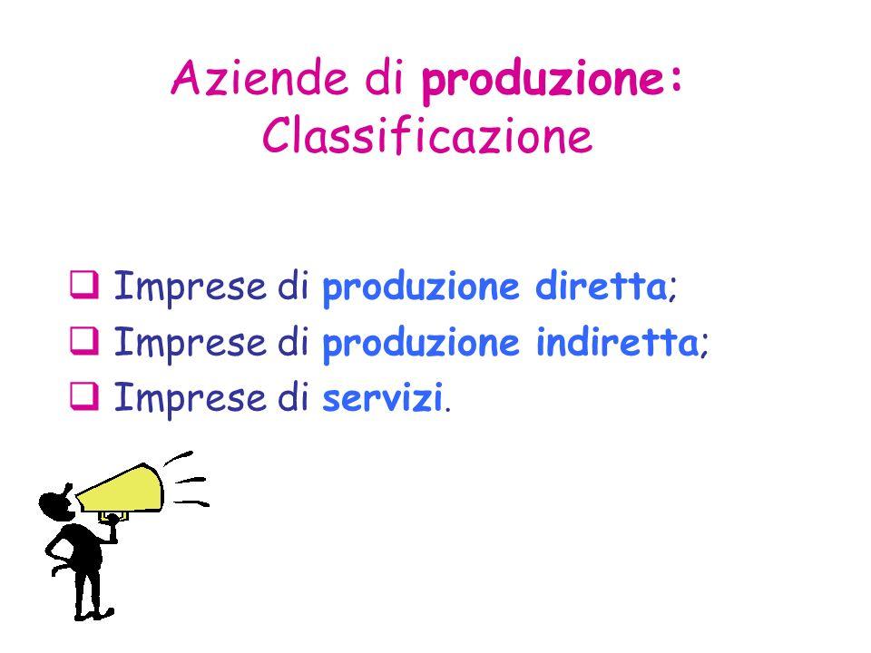 Aziende di produzione: Classificazione