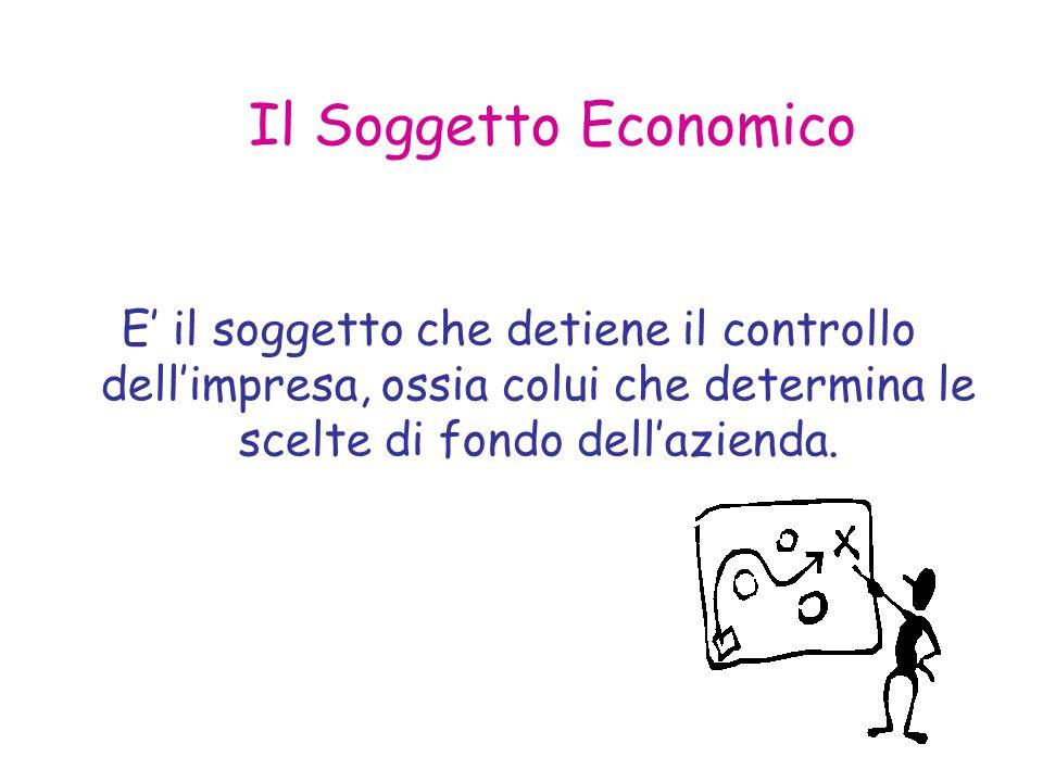 Il Soggetto Economico E' il soggetto che detiene il controllo dell'impresa, ossia colui che determina le scelte di fondo dell'azienda.