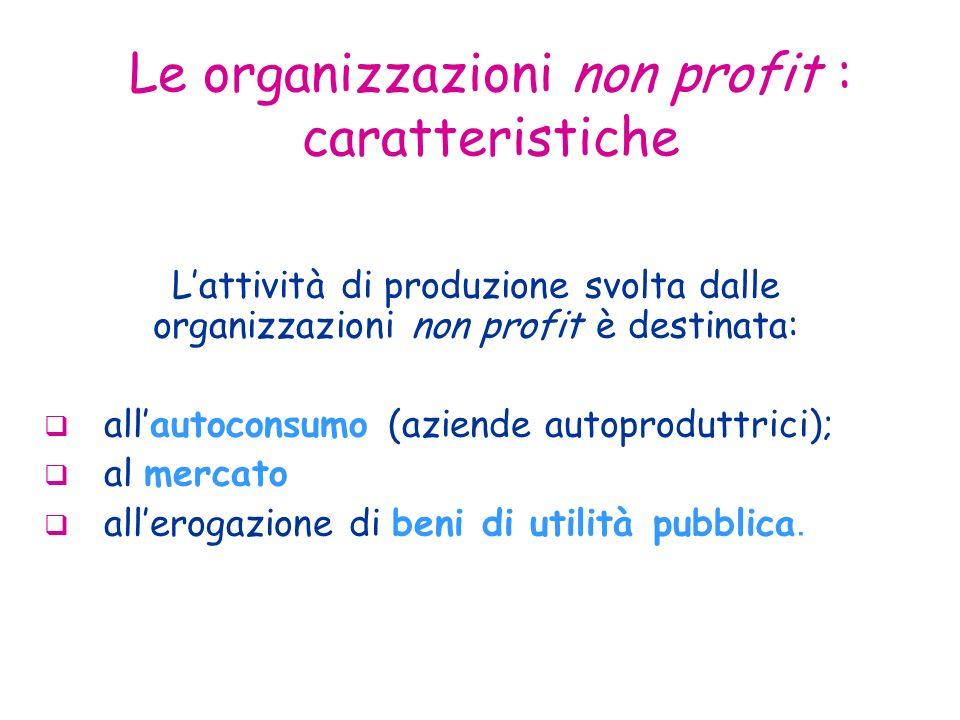 Le organizzazioni non profit : caratteristiche