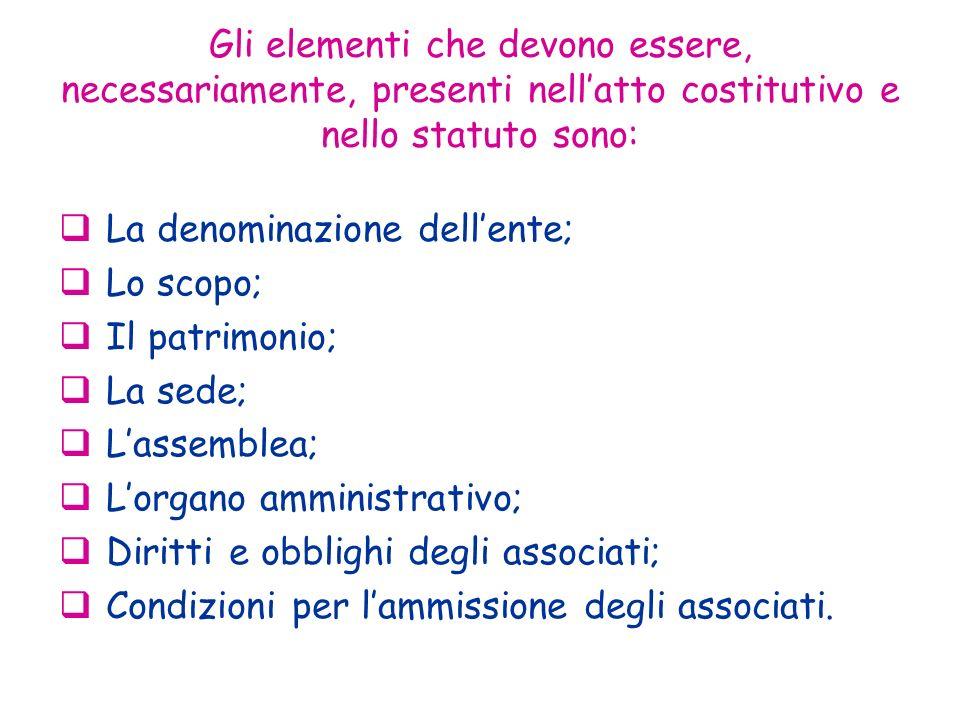 Gli elementi che devono essere, necessariamente, presenti nell'atto costitutivo e nello statuto sono: