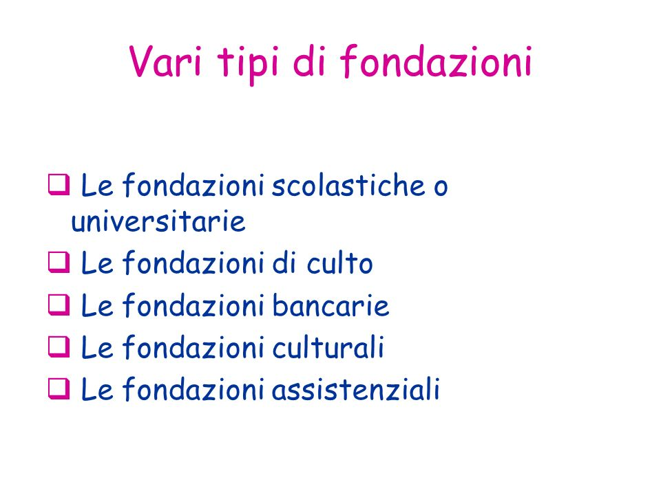 Vari tipi di fondazioni