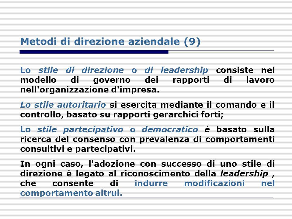 Metodi di direzione aziendale (9)