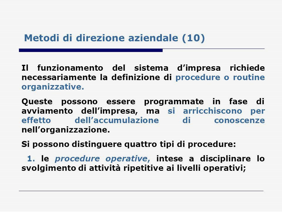 Metodi di direzione aziendale (10)