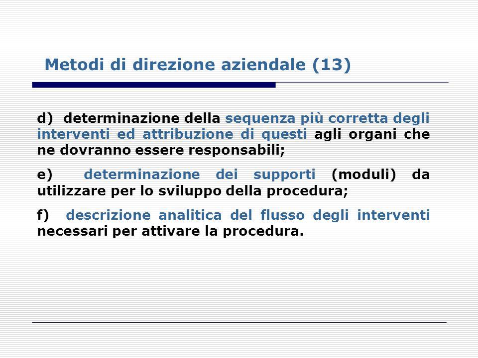 Metodi di direzione aziendale (13)