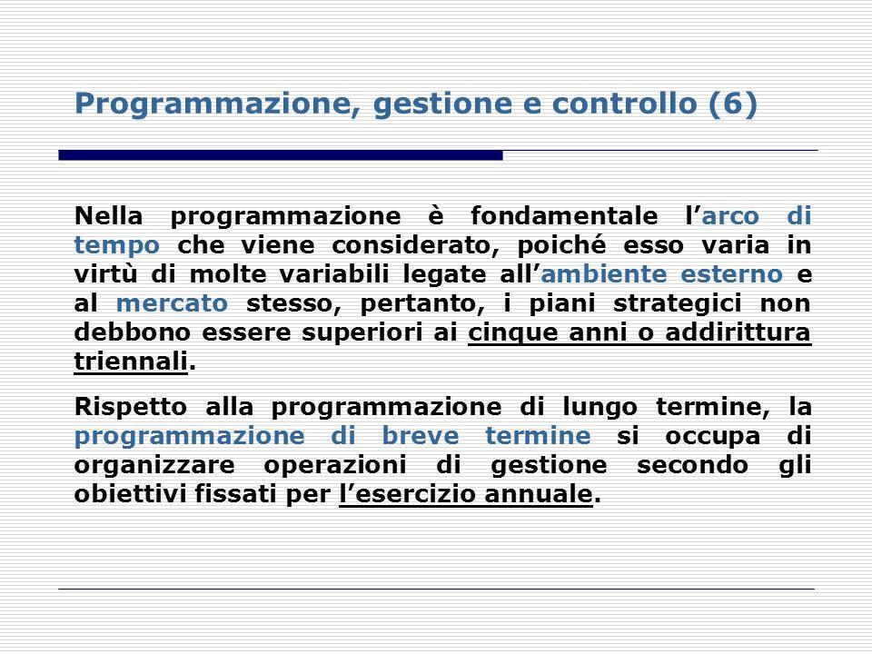 Programmazione, gestione e controllo (6)