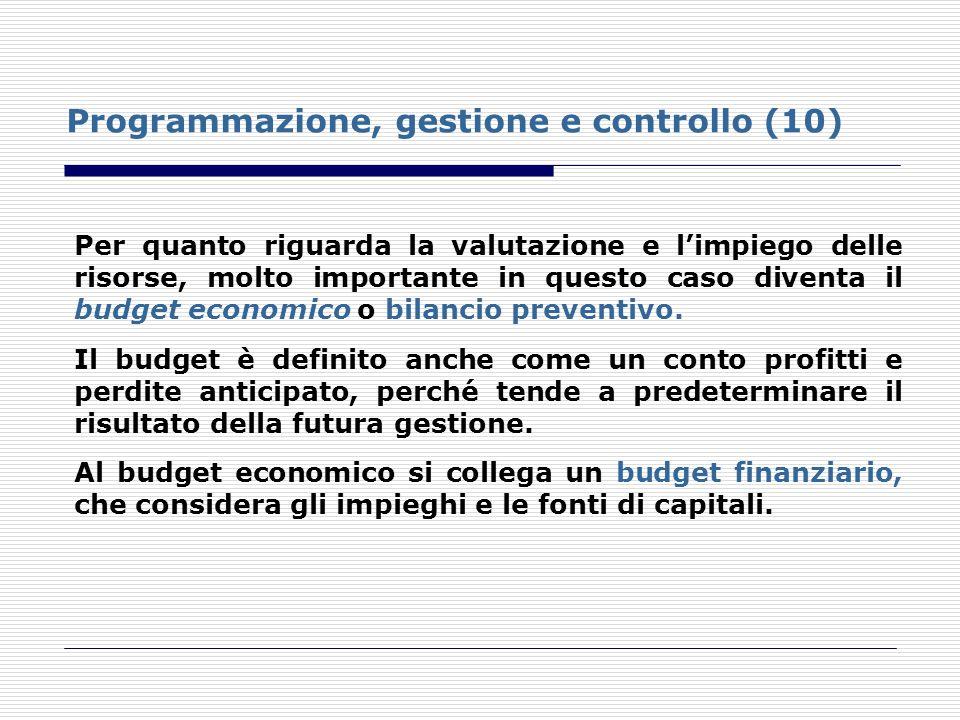 Programmazione, gestione e controllo (10)