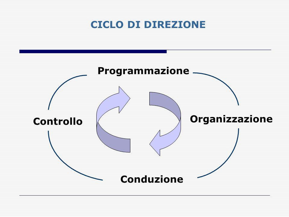 CICLO DI DIREZIONE Programmazione Organizzazione Controllo Conduzione