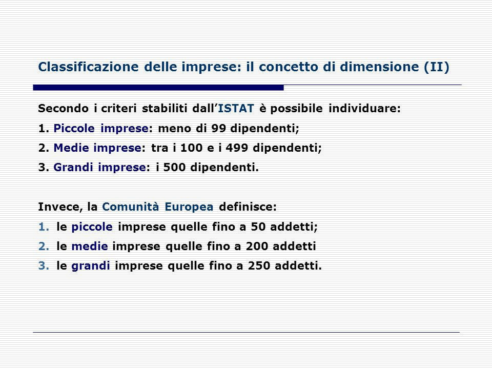 Classificazione delle imprese: il concetto di dimensione (II)