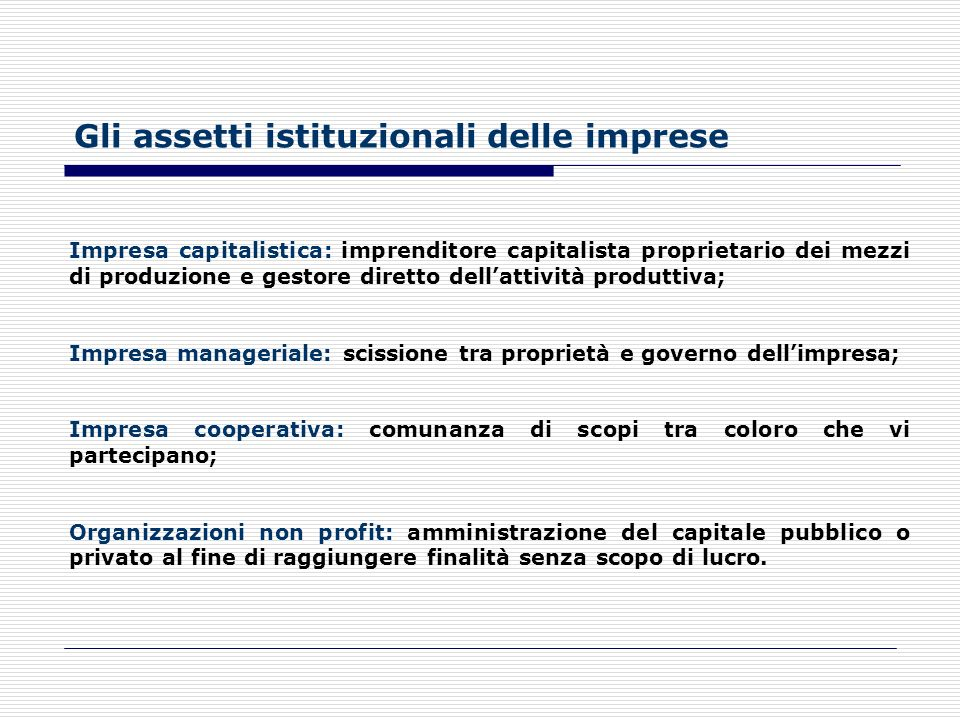 Gli assetti istituzionali delle imprese