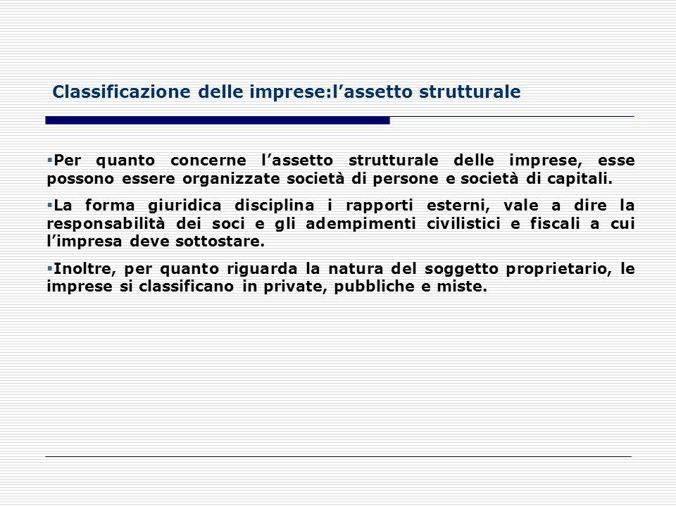 Classificazione delle imprese:l'assetto strutturale