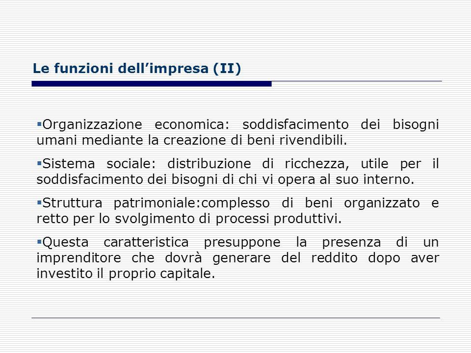 Le funzioni dell'impresa (II)