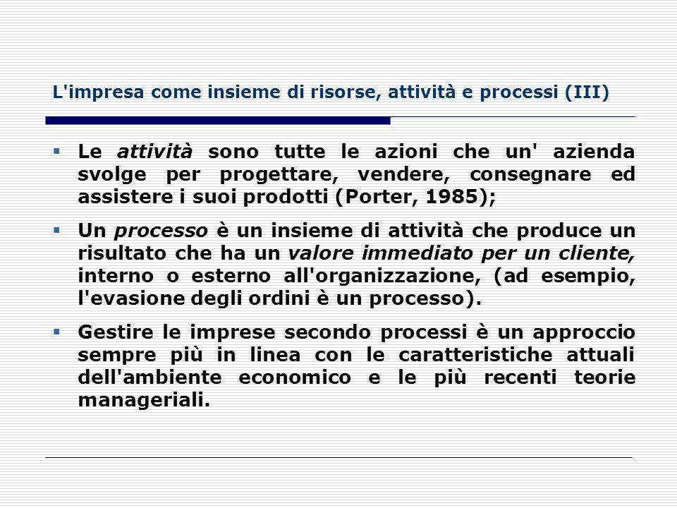 L impresa come insieme di risorse, attività e processi (III)