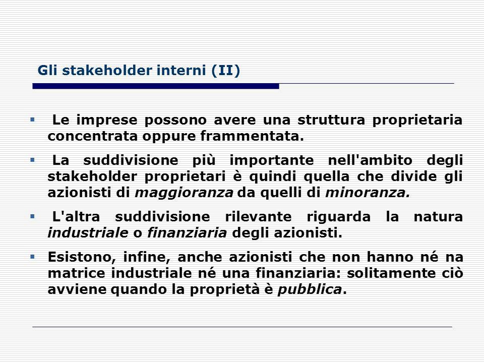 Gli stakeholder interni (II)