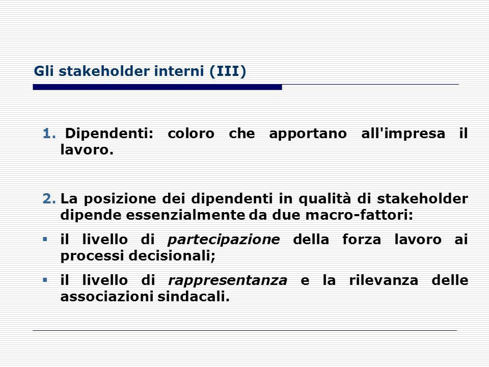 Gli stakeholder interni (III)