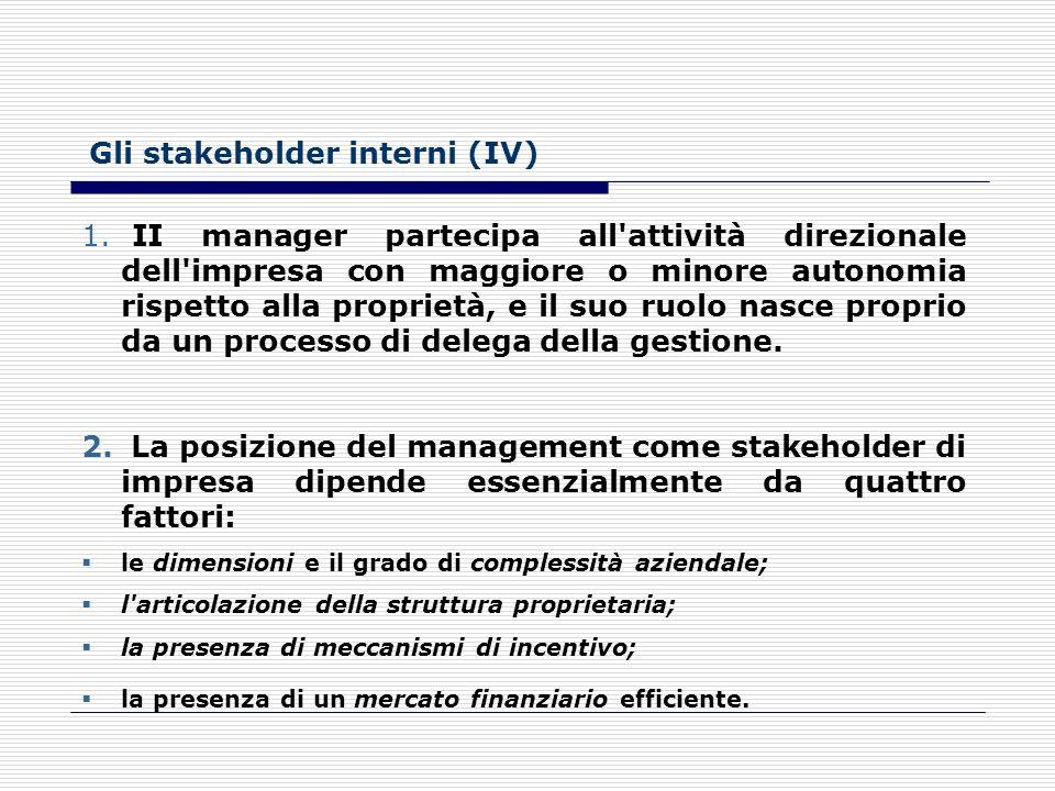 Gli stakeholder interni (IV)