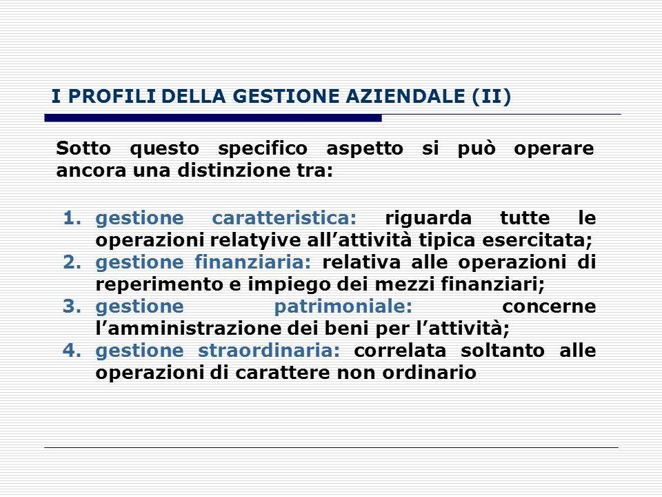 I PROFILI DELLA GESTIONE AZIENDALE (II)