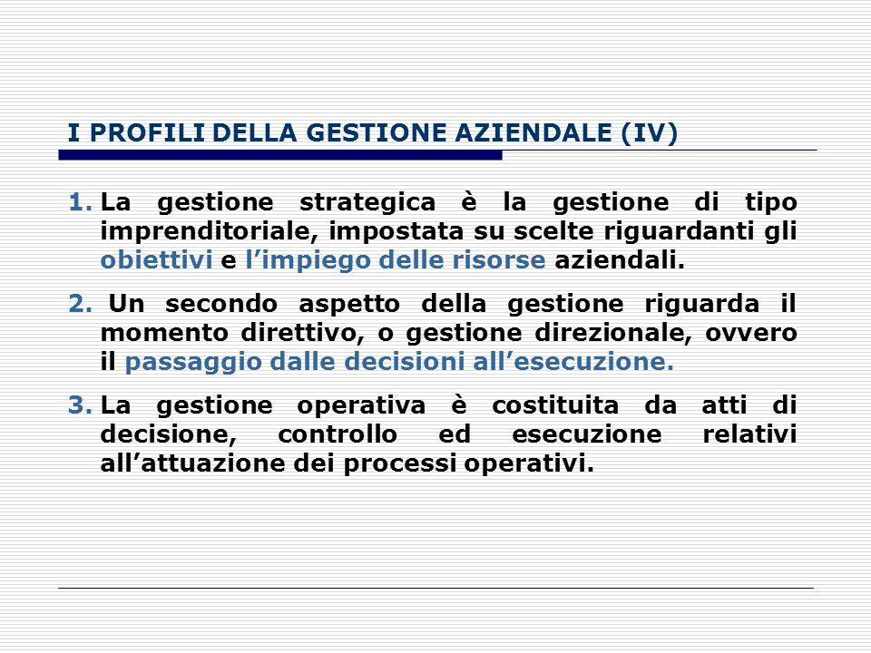 I PROFILI DELLA GESTIONE AZIENDALE (IV)