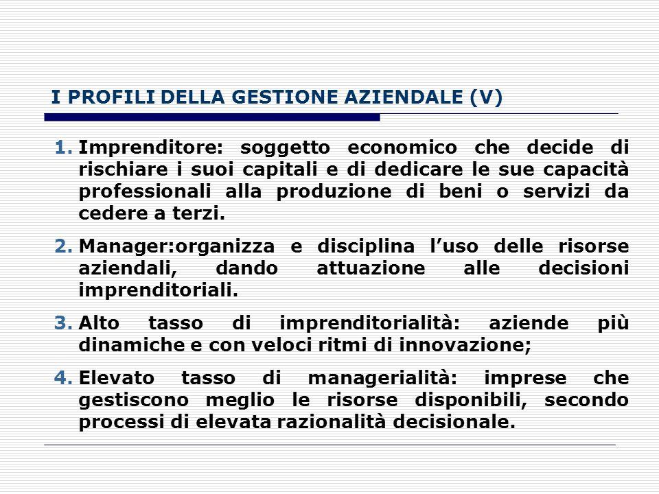 I PROFILI DELLA GESTIONE AZIENDALE (V)