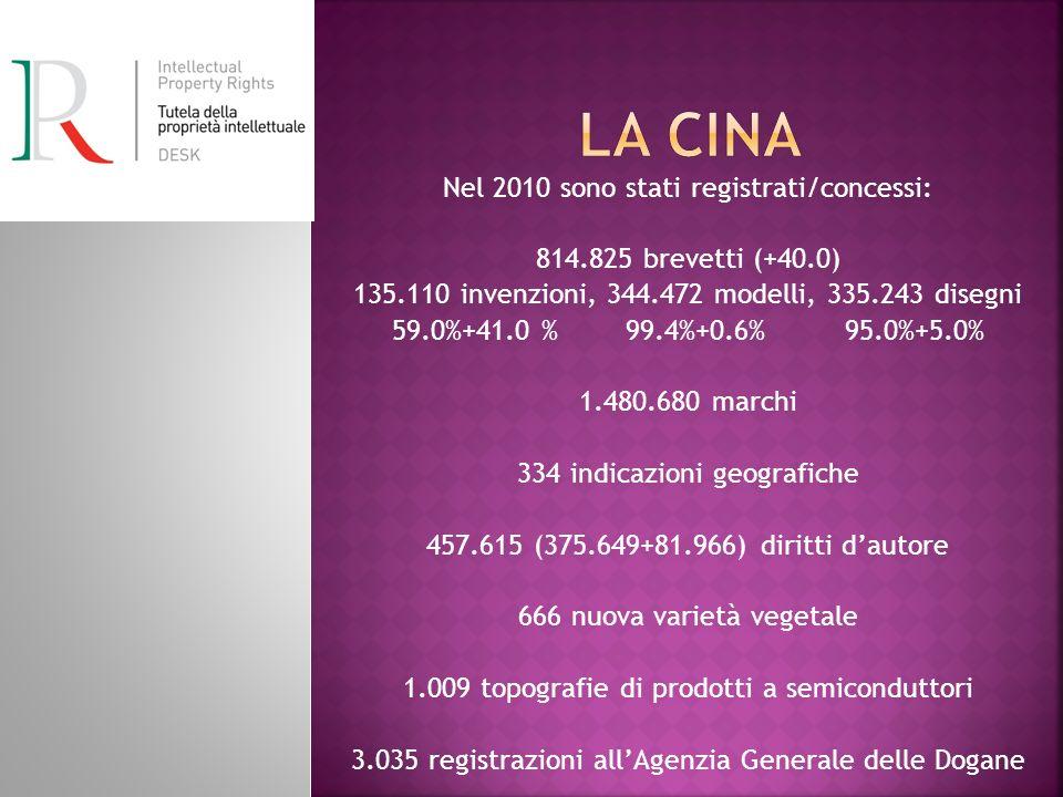 La Cina Nel 2010 sono stati registrati/concessi: