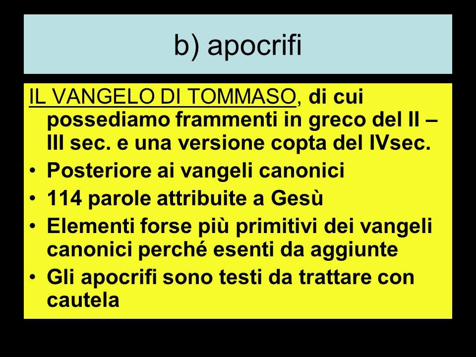 b) apocrifi IL VANGELO DI TOMMASO, di cui possediamo frammenti in greco del II – III sec. e una versione copta del IVsec.