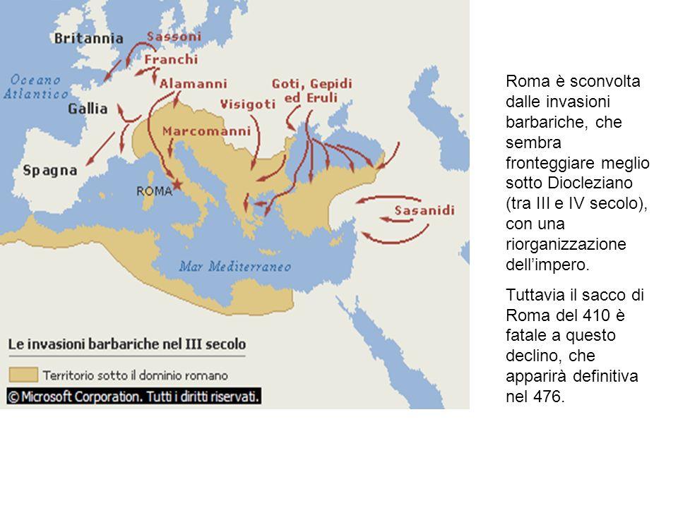 Roma è sconvolta dalle invasioni barbariche, che sembra fronteggiare meglio sotto Diocleziano (tra III e IV secolo), con una riorganizzazione dell'impero.