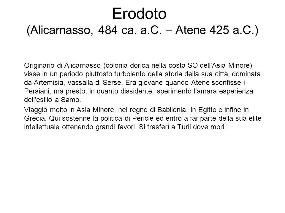 Erodoto (Alicarnasso, 484 ca. a.C. – Atene 425 a.C.)