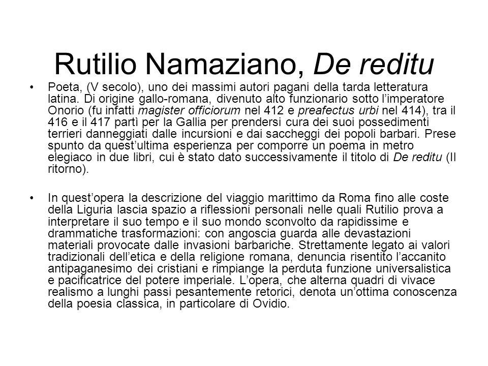 Rutilio Namaziano, De reditu
