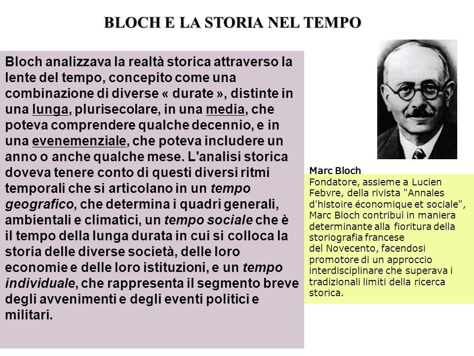 BLOCH E LA STORIA NEL TEMPO