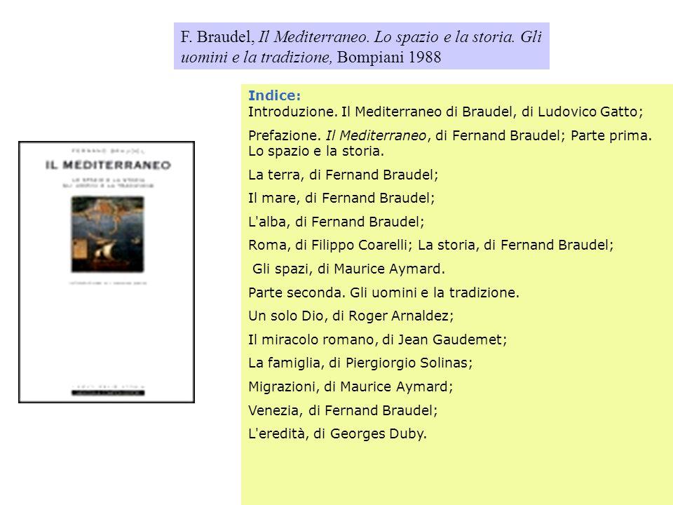F. Braudel, Il Mediterraneo. Lo spazio e la storia