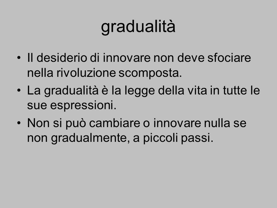 gradualità Il desiderio di innovare non deve sfociare nella rivoluzione scomposta. La gradualità è la legge della vita in tutte le sue espressioni.