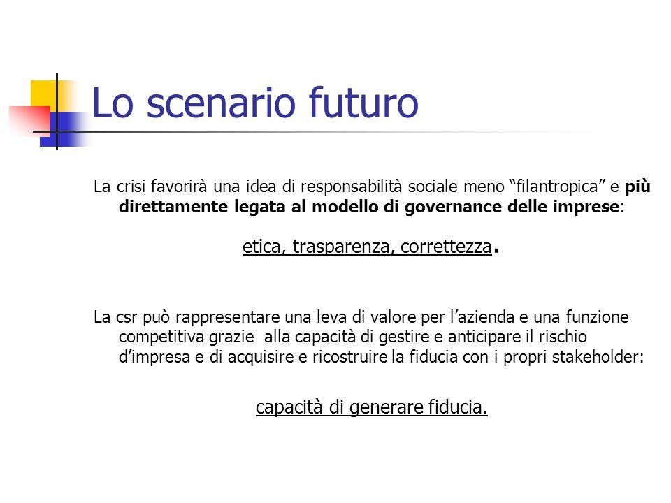 Lo scenario futuro etica, trasparenza, correttezza.